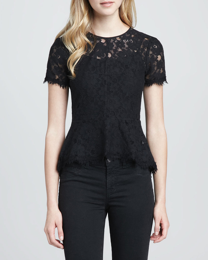 BCBG Max Azria's Lace Fringe Trim Peplum Blouse ($178) is perfect for topping skinny jeans for an easy holiday dinner party outfit.