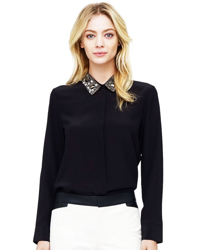 This Club Monaco Cierra Embellished Collar Top ($190) makes it easy to dress up a pencil skirt for a night out.