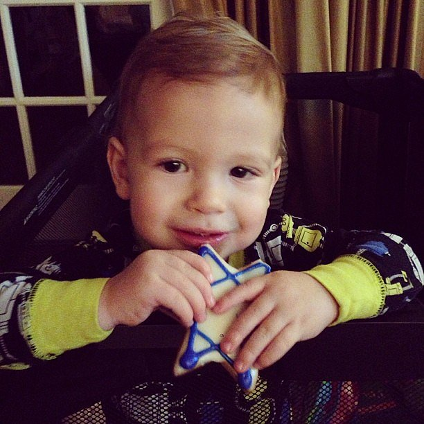 Finn McDermott celebrated the seventh night of Hanukkah with a sweet cookie. Source: Instagram user torianddean