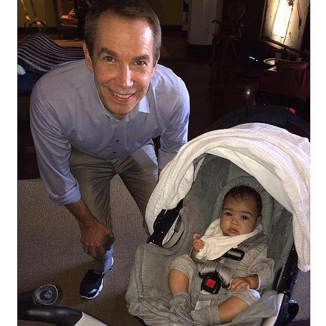 Little North West received her first art lesson from none other than Jeff Koons at Art Basel Miami. Source: Instagram user kimkardashian