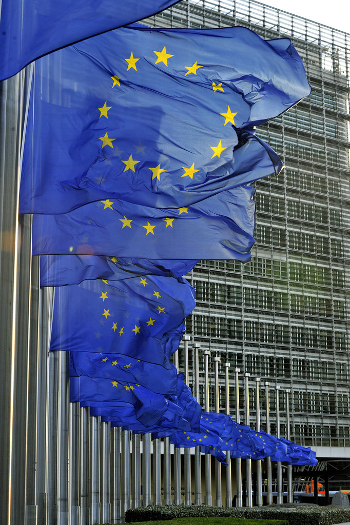 Flags flew at half mast at the Berlaymont European Union Commission building in Brussels, Belgium.