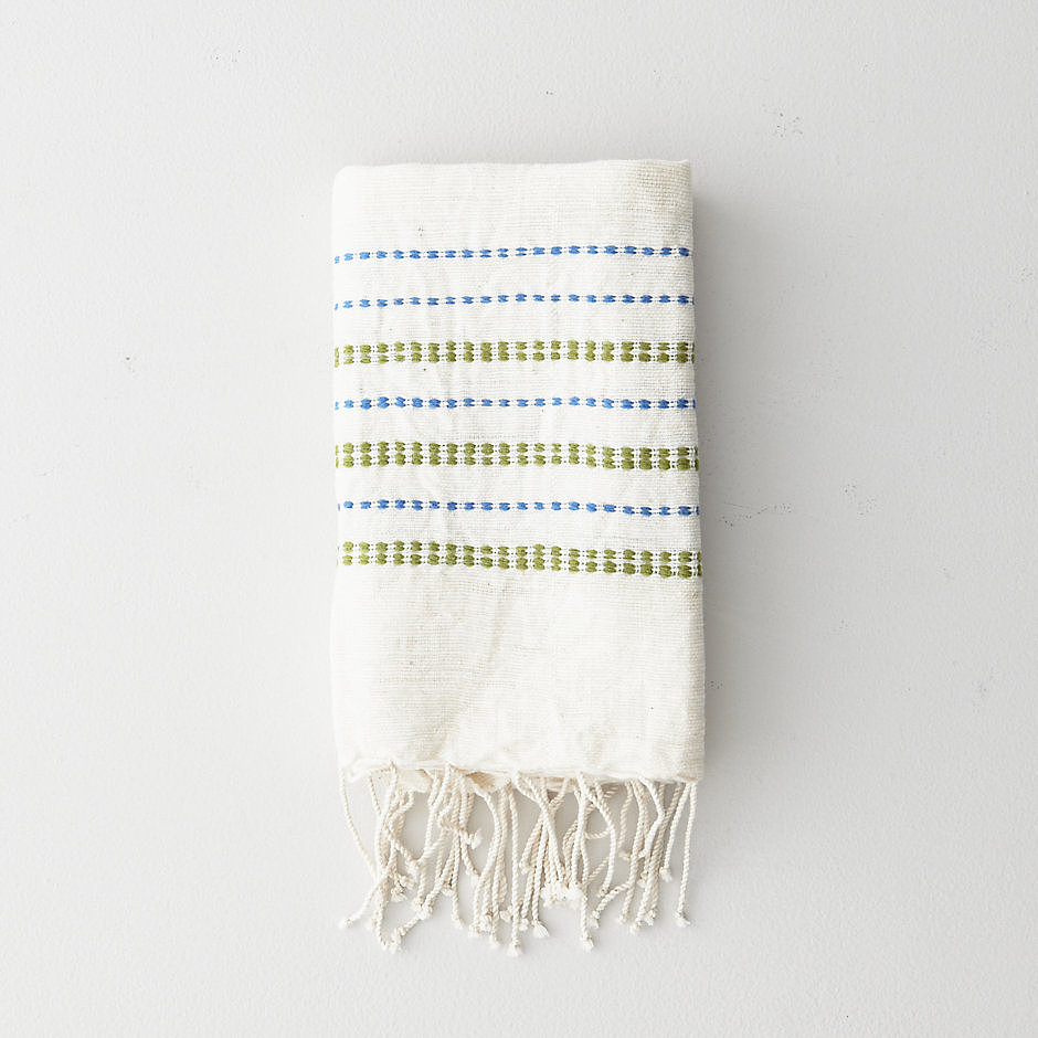 Pair printed hand towels ($32) with a bar of soap for an easy and thoughtful gift.
