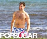 John Krasinski smiled while shirtless in Hawaii in November.