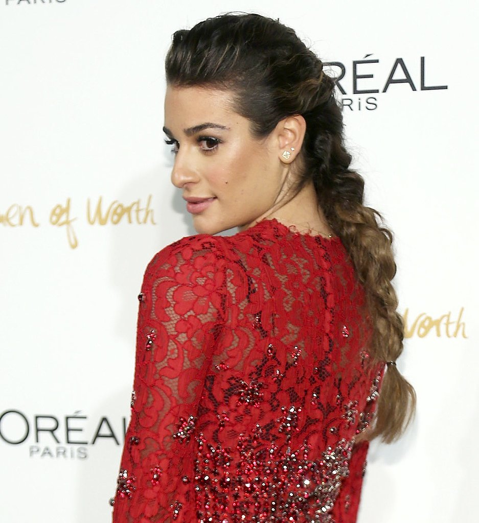 For her appearance at L'Oréal Paris's Women of Worth event, Lea Michele opted for a voluminous and textured braid. We love how she wore the typically casual style with a red lace dress.