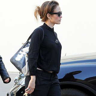 Jennifer Lopez Black Pants and Oxfords Outfit