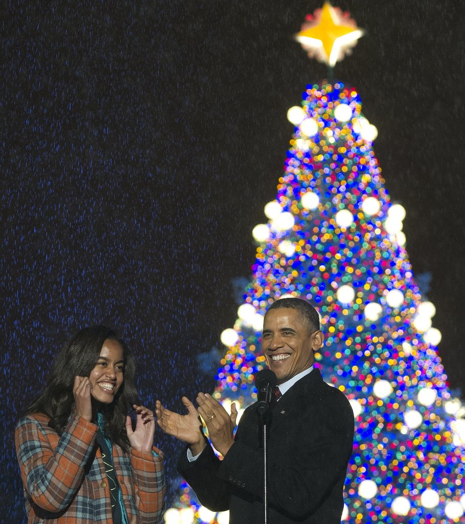 President Obama and his daughter Malia were all smiles for the tree lighting.