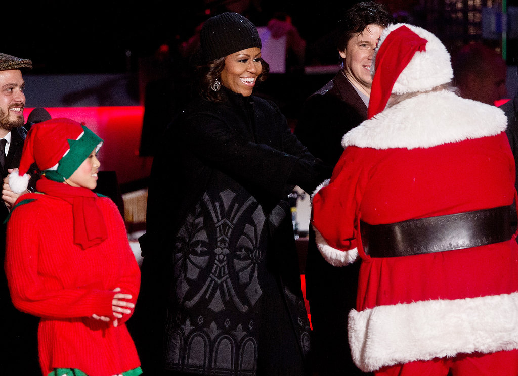 Michelle Obama took the stage during the tree-lighting event.