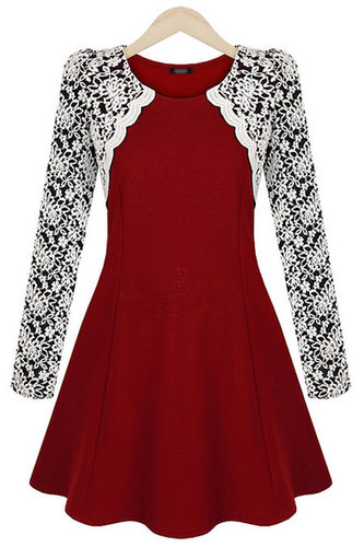 Red Contrast Lace Long Sleeve Ruffle Dress - STDRESSES