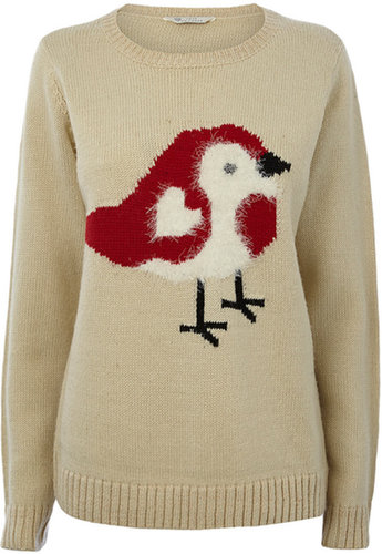 Oatmeal Robin Christmas Jumper
