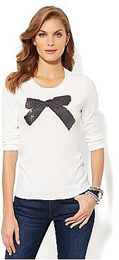 Waverly Crewneck Sweater - Sequin Party Bow
