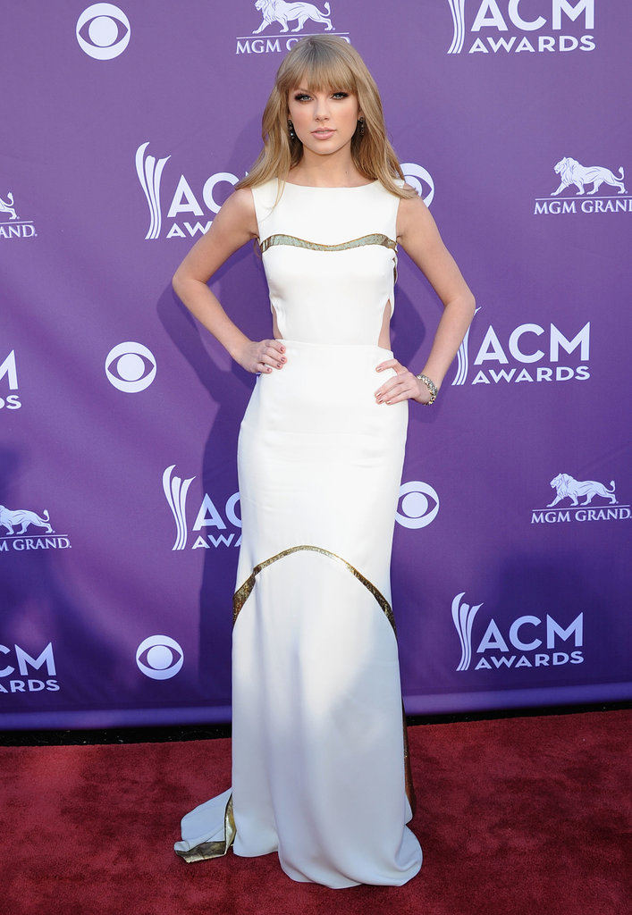 The evening's entertainer of the year mixed up her signature sparkle with a modern white J. Mendel selection for the Academy of Country Music Awards in 2012.