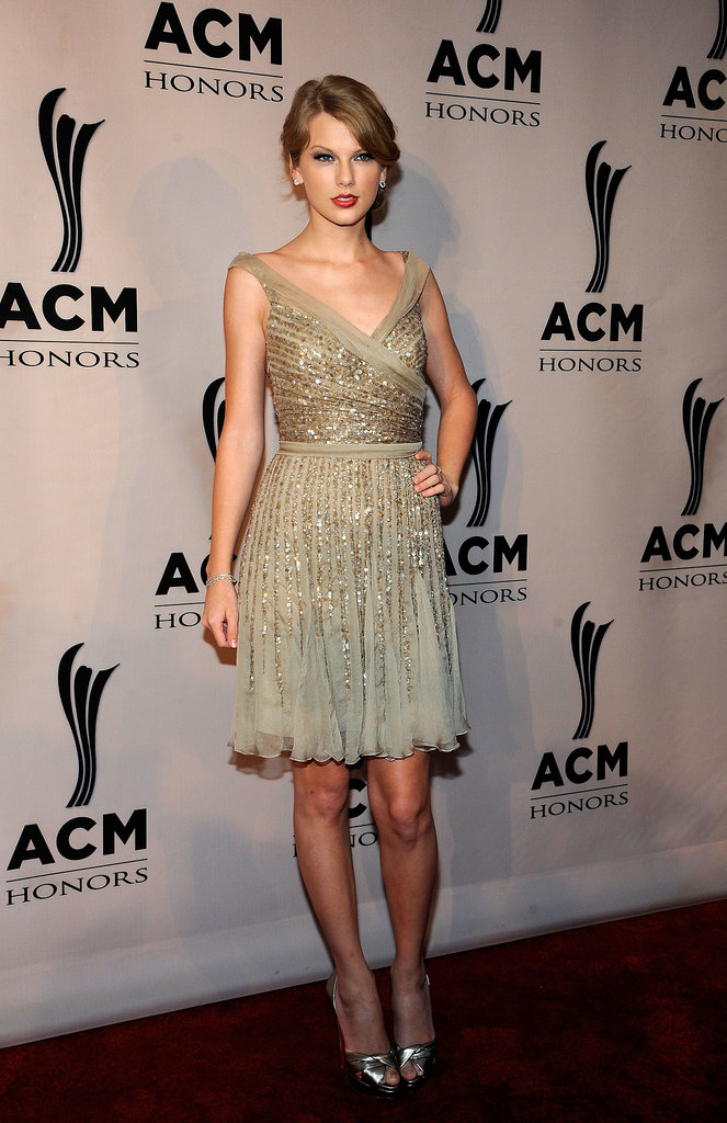 Shine bright like a country-turned-pop star! Taylor posed in a flirty beaded Elie Saab creation for the ACM Honors in 2011.