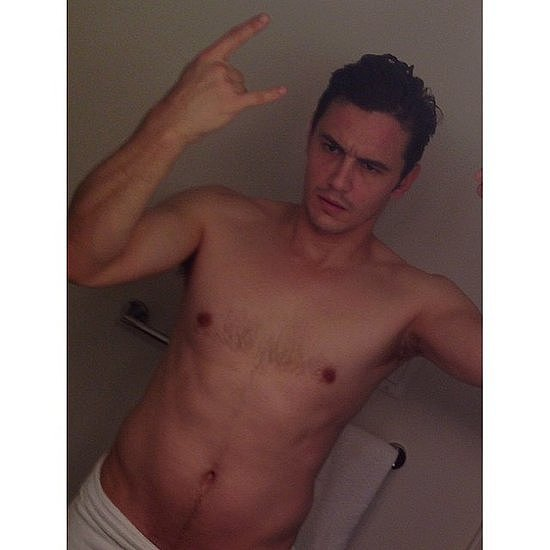 "James Franco got ""#almostnude"" on Instagram, writing, ""Tryna work that body, tryin', tryin'."" Source: Instagram user jamesfrancotv"