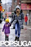 Sarah Jessica Parker braved the frightful NYC weather with her daughter Loretta.