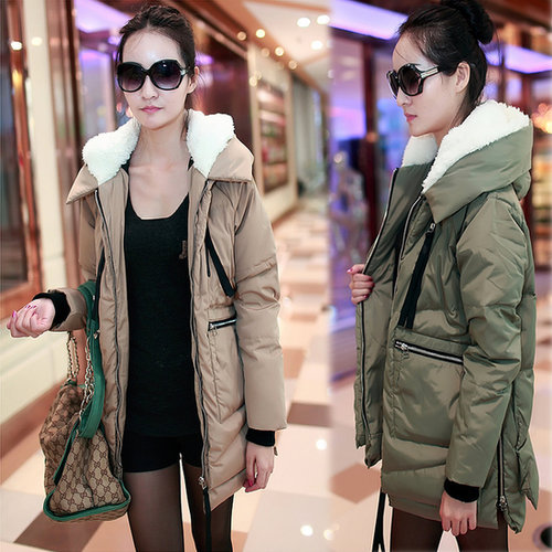 Discount women's plus size thick rabbit fur collar hooded winter outerwear Down & Parkas in women down parkas on sightface.com