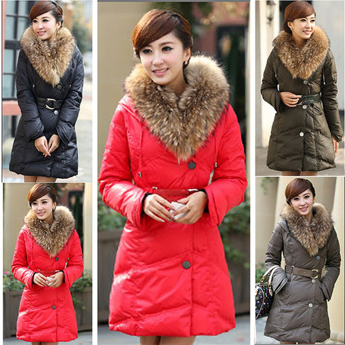 Discount New winter long design slim plus size warm winter down jackets real fur collar outerwear coats in women down parkas on