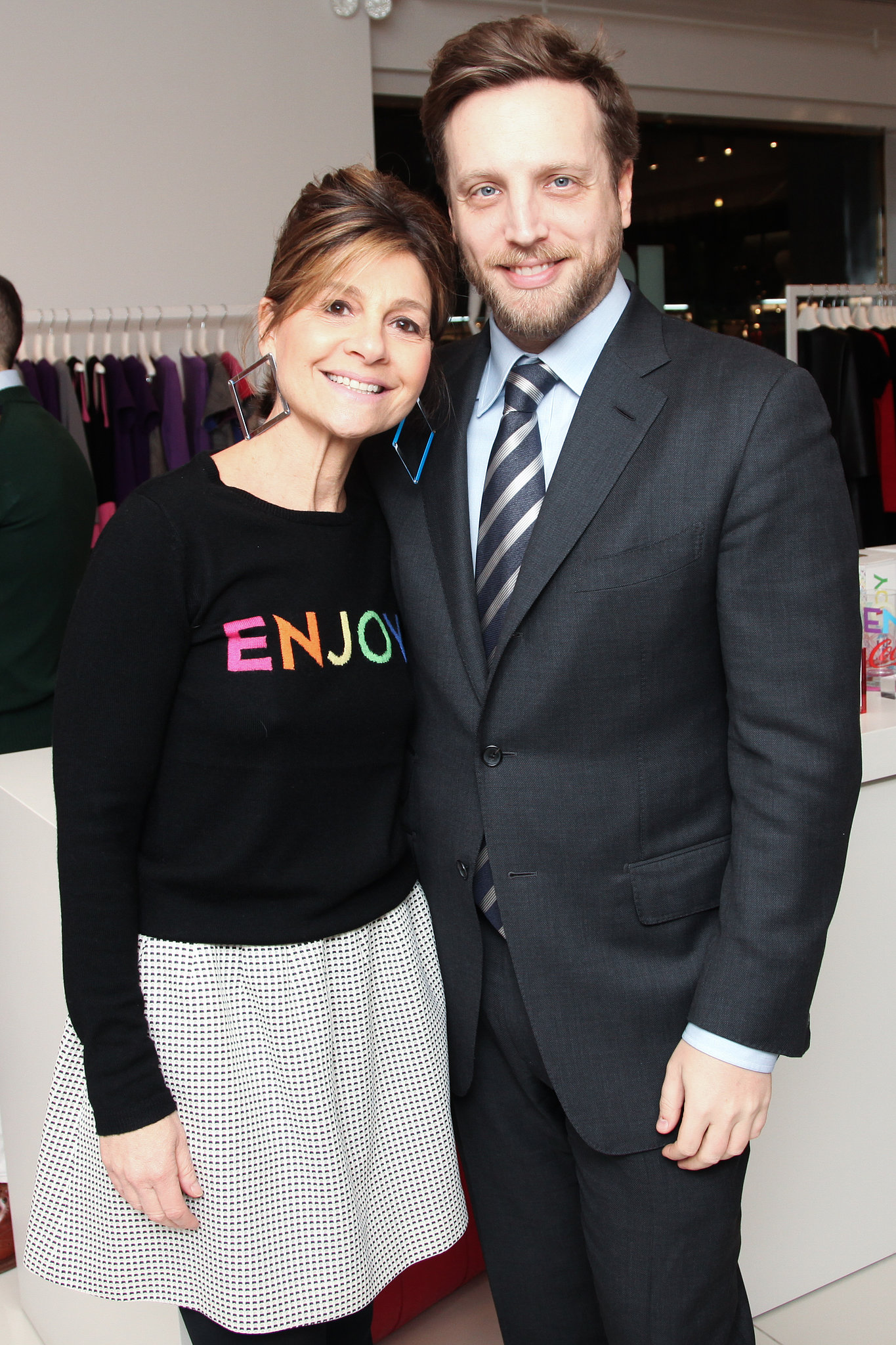 Lisa Perry and Ariel Foxman at Lisa Perry's holiday shopping event with Coca-Cola.