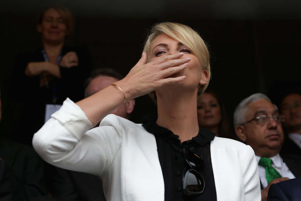 South African actress Charlize Theron blew kisses to the crowds at the memorial.