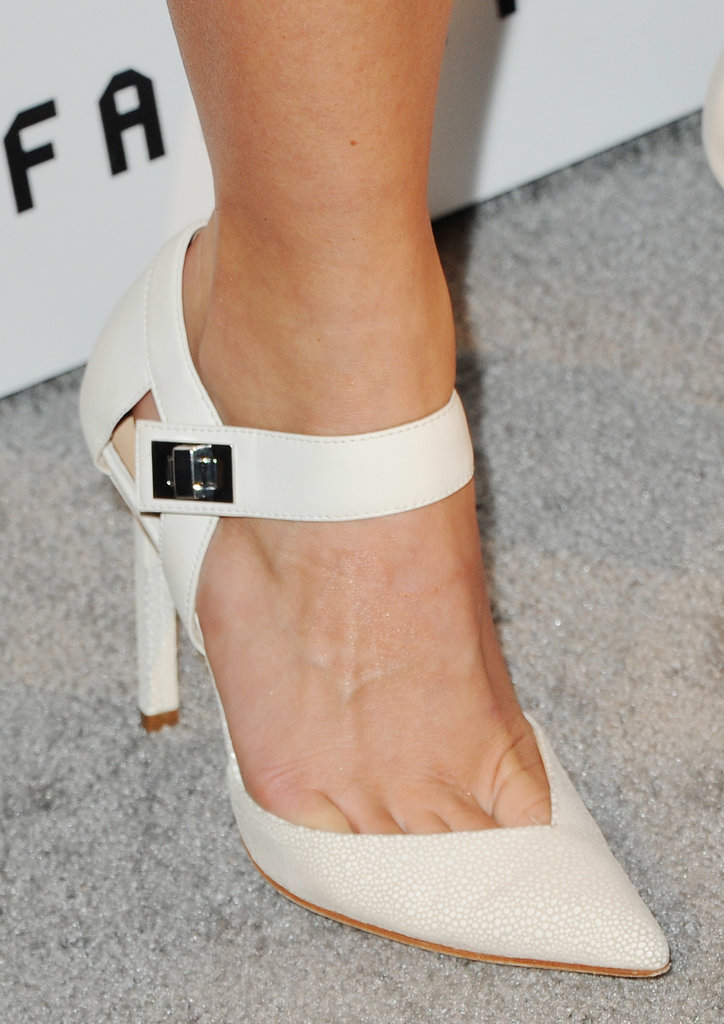 In April, Julianne Hough showed off creamy heels with a turn lock at the ankle.