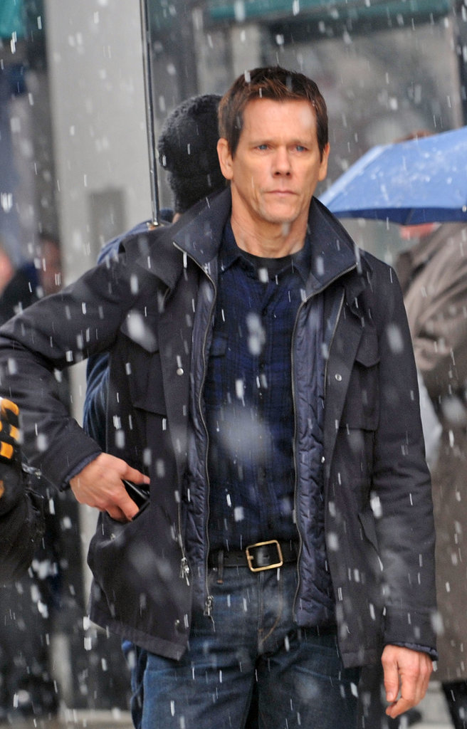 Kevin Bacon braved cold weather on the set of The Following in NYC on Tuesday.
