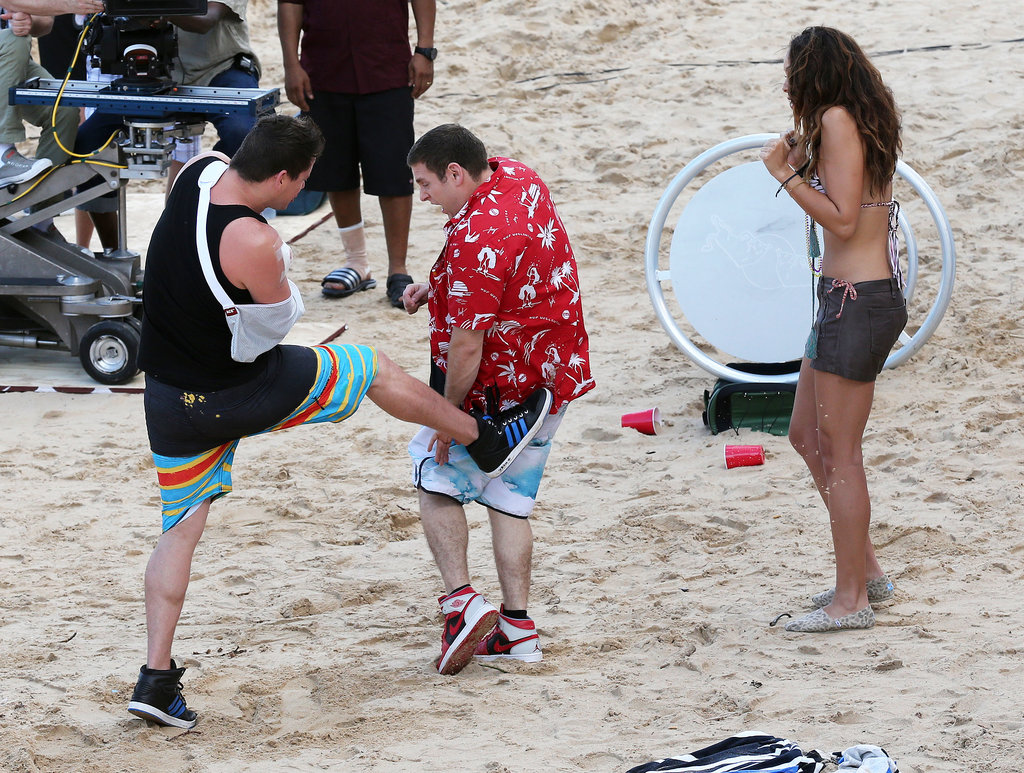 Channing Tatum kicked Jonah Hill on set.
