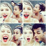 Taylor Swift took silly selfies while trying to reapply her signature red lip. Source: Instagram user taylorswift