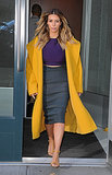 Kim did colorblock like a pro while stepping out in her trusty Max Mara coat in New York.