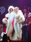 Miley Cyrus got saucy with Santa as Mrs. Claus at Jingle Ball's Saint Paul, MN, date.