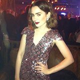 Lily Collins struck a sultry pose during the Chanel fashion show in Dallas. Source: Instagram user glamourmag