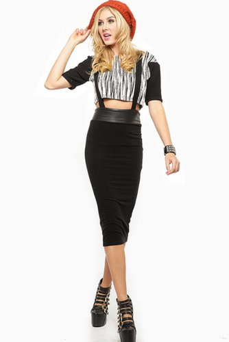 Suspender Midi Skirt