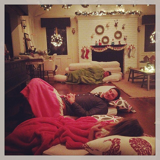 Harper Smith convinced her parents to have a holiday sleepover party with everyone snuggling up on the floor. Source: Instagram user tathiessen