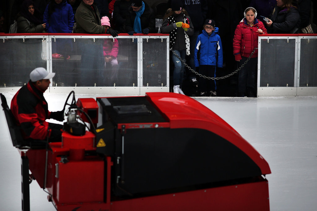 Kids waited for the Zamboni to finish clearing the ice at New York's Rockefeller Center.
