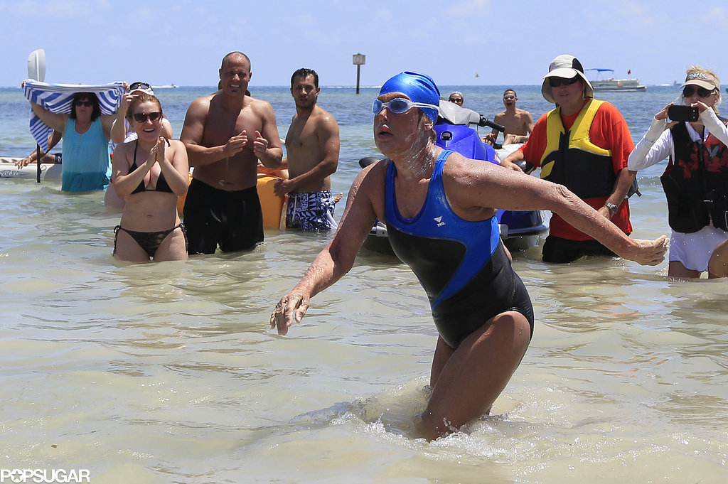 Diana Nyad Emerging From the Waters