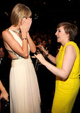 Taylor Swift was surprised to run into Lena Dunham at the Grammys in February 2013.