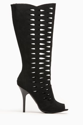 Qupid Black Cut Out Peep Toe Stiletto Boot @ Cicihot Boots Catalog:women's winter boots,leather thigh high boots,black platform