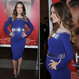 Celebrity Maternity Style: Olivia Wilde In Tight Blue Dress