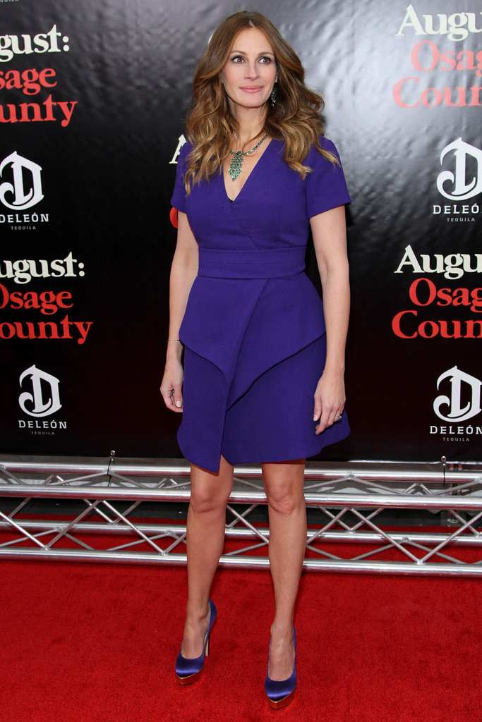 Speaking of vibrant colors, Julia Roberts wasn't afraid of a jarring palette when she paired her purple Proenza Schouler dress with coordinating Charlotte Olympia pumps and emerald Wilfredo Rosado jewels on the August: Osage County red carpet.