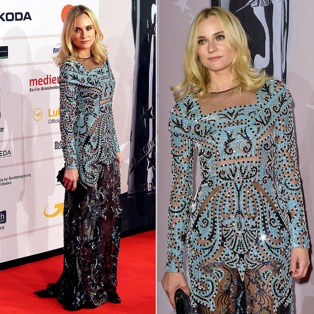 We won't lie — we were just as surprised as our Facebook followers when we saw Diane Kruger's sheer red carpet look at the European Film Awards.