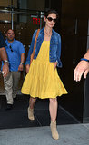 The actress brightened the streets of NYC, donning a yellow day dress with neutral staples, Rag & Bone ankle boots, and a Current/Elliott denim jacket in July 2012.
