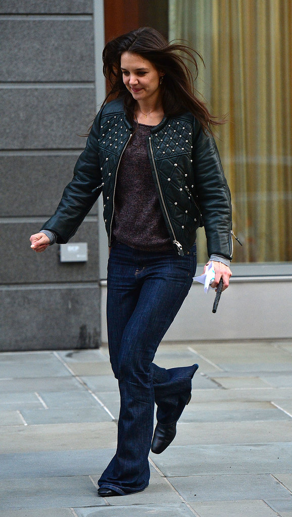 Katie's studded Isabel Marant leather jacket kept with the moody palette of her March 2013 NYC ensemble.