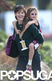 Jennifer Garner gave her daughter Violet a piggyback ride after a trophy-winning basketball game in LA on Sunday.