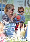 Selma Blair and her son, Arthur Bleick, split a snack at the farmers market in LA.