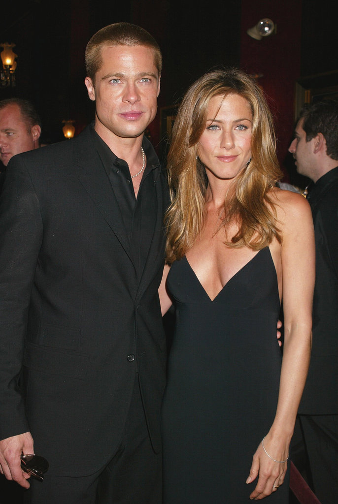 Brad Pitt and Jennifer Aniston were clad in black for the NYC premiere of Troy in May 2004.