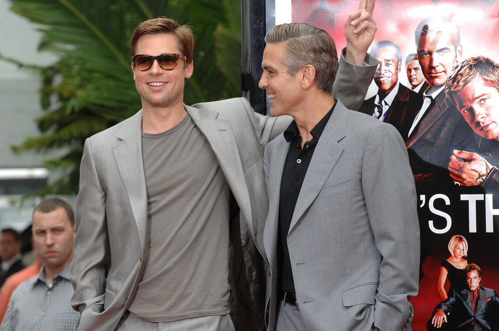 How's this for a two-for-one special? Brad Pitt and George Clooney looked great in gray for the Ocean's Thirteen handprint ceremony in LA in June 2007.