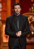 Hugh Jackman looked dapper in a black suit.