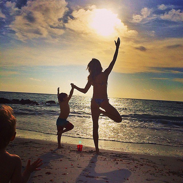 Gisele Bündchen shared an Instagram snap of herself doing yoga on the beach with her son, Benjamin Brady. Source: Instagram user giseleofficial