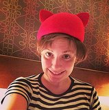 A cat hat kept Lena Dunham's head warm and cozy. Source: Instagram user lenadunham