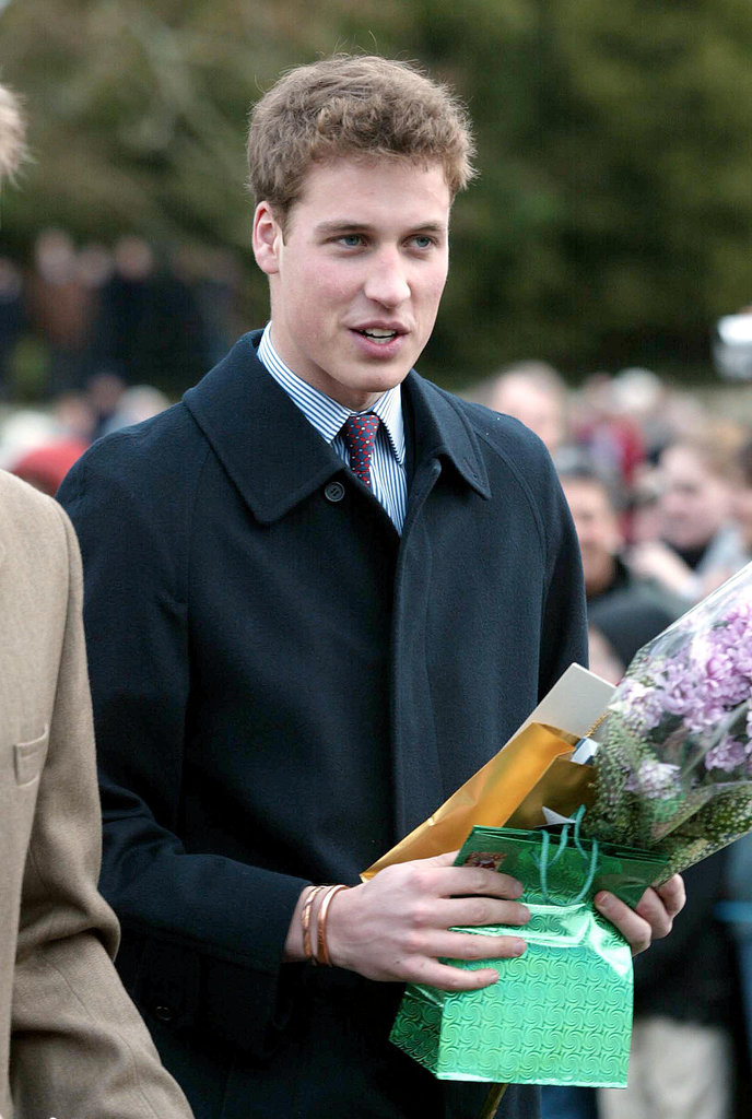 Prince William held onto presents from the public after attending the Christmas Day service in 2001.