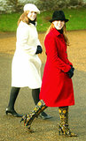 Princess Eugenie and Princess Beatrice stepped out together after the 2003 Christmas church service.