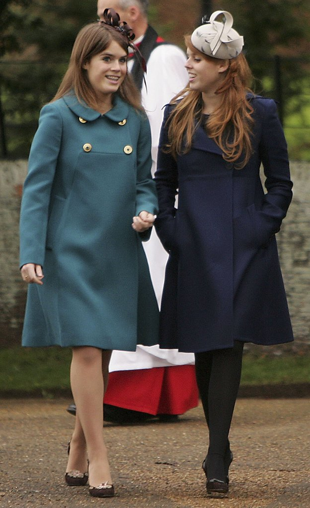 Princess Eugenie and Princess Beatrice sported some fancy headwear for Christmas in 2006.